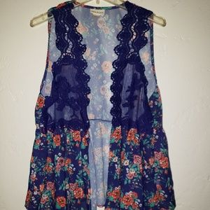 Belle du Jour floral and lace open front blouse